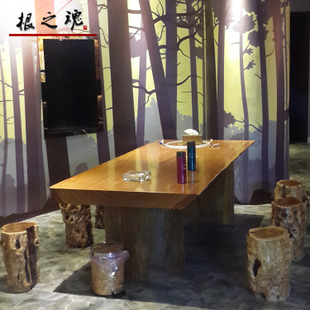 PEAR plate wood slab table tea wood desk desks the boss soul of wood Executive desk