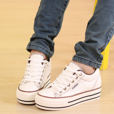 2014 Fall increased cloth in the low to help shallow mouth canvas shoes Korean version of women's shoes muffin shoes solid student shoes