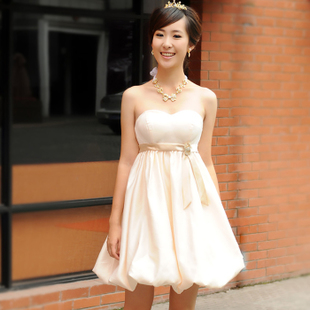 Small dress champagne color wedding Angel culvert genuine Korea small Palace gown dress LF127