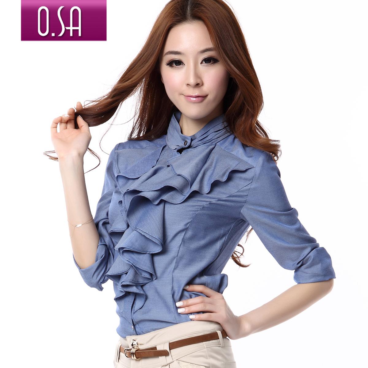 O.SA春装2012新款韩版女装荷叶边纯色修身长袖衬衣衬衫女C13244_价格:198元