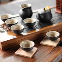 陶瓷功夫茶具 仿石釉禅丰黑线条茶具套装8入 和风茶器