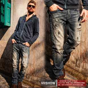 New hole in summer tide of self-cultivation washed jeans male male male trousers men new spring