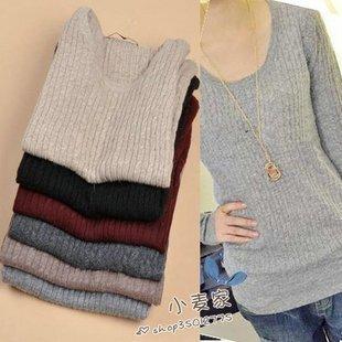 Трикотаж Новый осень/зима 2012 t корейских моды свободные досуг дикая женщина вязание нижнего рубашка свитер
