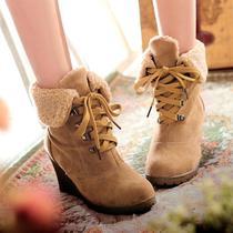 包邮新款毛绒马丁靴 圆头坡跟平底短靴欧美杂志版时尚潮流女靴子