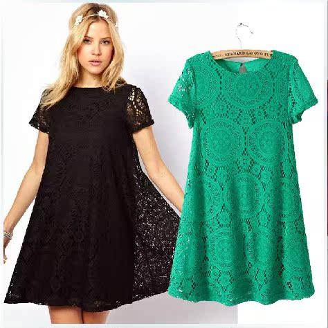 Платье с коротким рукавом для полных