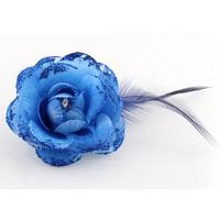 韩版 羽毛布艺玫瑰花羽毛胸针 头饰饰品配饰头花