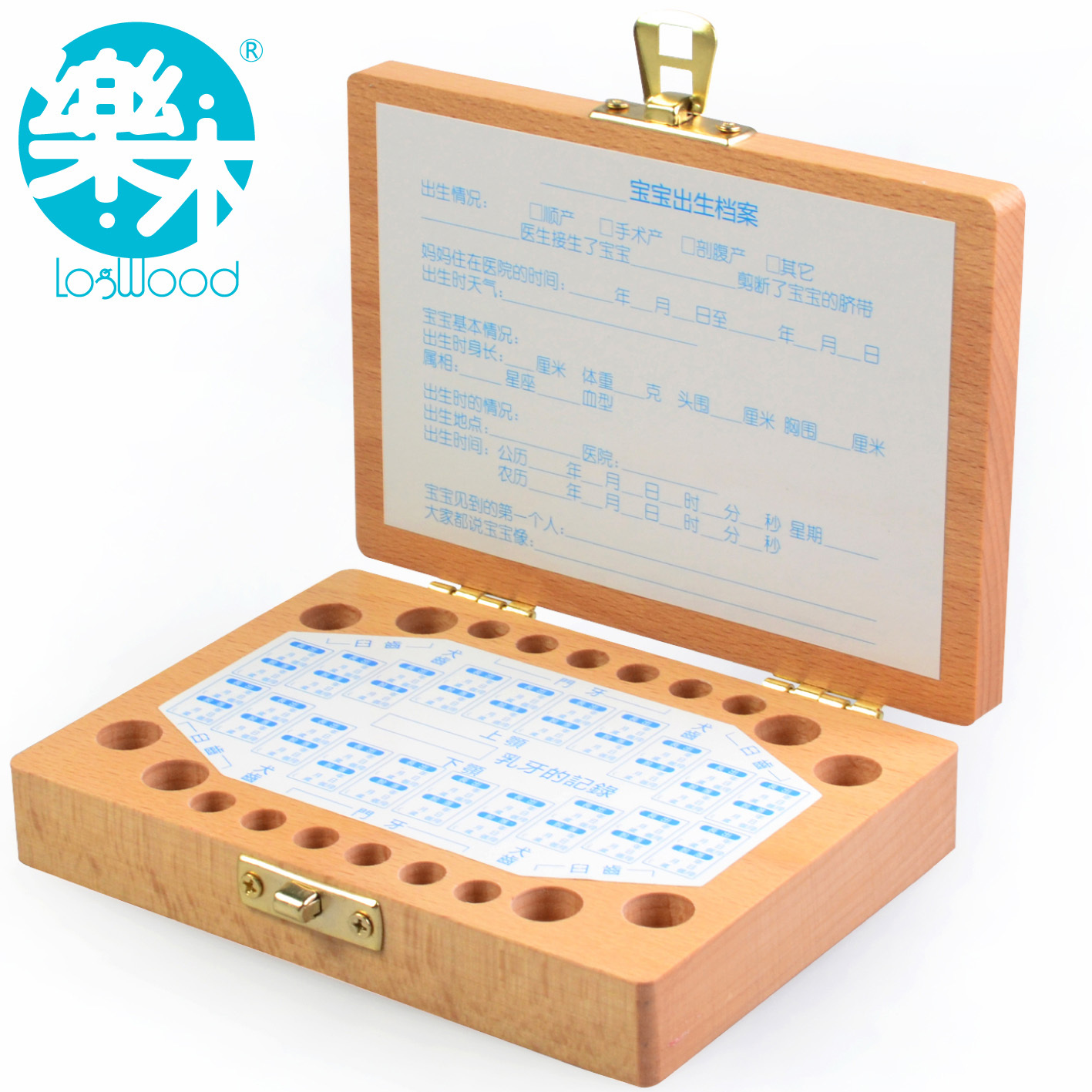 International Children ' s Day gift wooden Baby Keepsake lanugo deciduous wood patented products save boxes