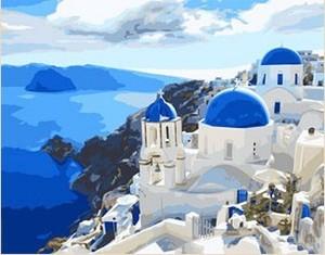 DIY digital canvas bag mail special living landscape hand-painted hand-painted digital 40*50 blue Mediterranean