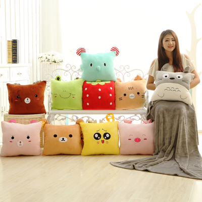 Cute Totoro pillow cushion large triple air conditioning blanket warm Shou Wu is dual air conditioning was girls day gift