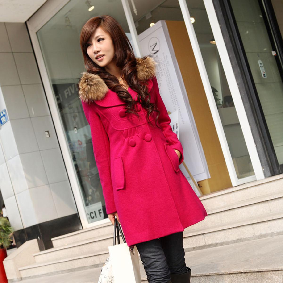 женское пальто [Бесплатная электронная] 2012 новые женщины тонкий двубортные зимних пальто меховой воротник шерстяной ткани шерсти пальто