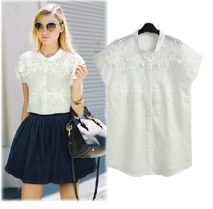 The new 2014 dress lace top European and American loose short-sleeved summer shirts Cotton and linen female white shirt Taobao Agent