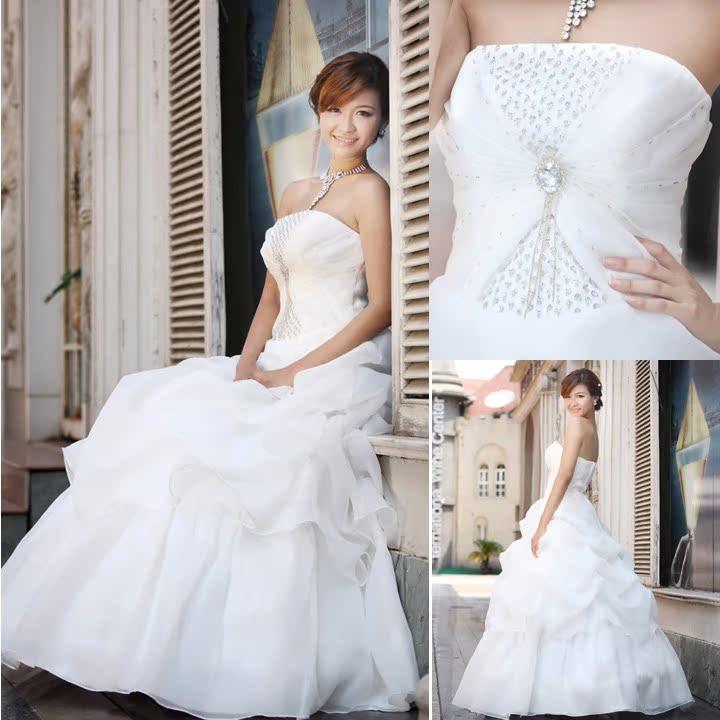 爱尚真 婚纱礼服 新款2013 韩版结婚季 公主 新娘 婚纱 定做 手工 绑带