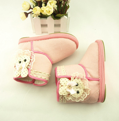 Cui Grandma1-3-year-old female baby cotton handmade children's snow boots boots boots Bumian baby cloth padded bottom Dongfen