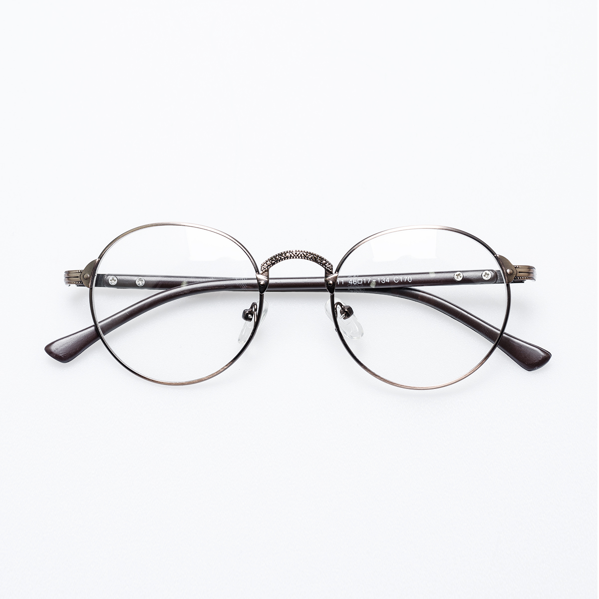 文艺范绅士日系复古雕花圆框金属装饰椭圆的眼镜框潮男女咖啡灰色