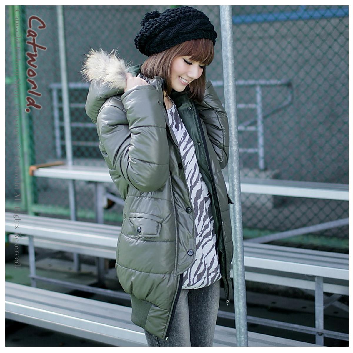 Женская утепленная куртка Catworld 15002049 Прямой Длинный рукав