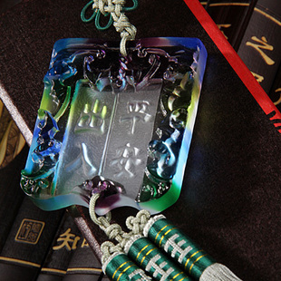 Royal treasure car pendant glass square green car for  colorful decoration of ancient law satchel post