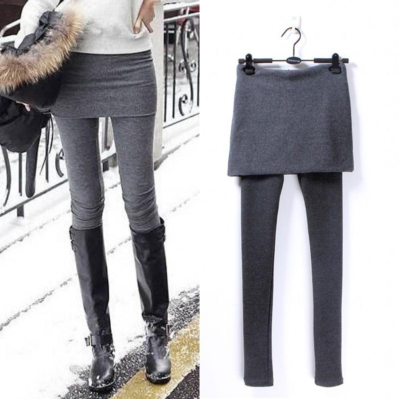 Леггинсы Корейская версия тонкий дамы стрейч сапоги юбка-брюки брюки хлопок Брюки леггинсы юбки однотонные ноги моды леггинсы 100