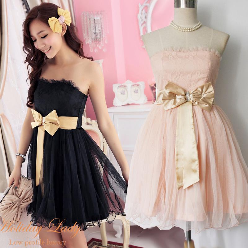 韩版可爱公主伴娘抹胸礼服裙蝴蝶结短裙晚装粉色小礼服