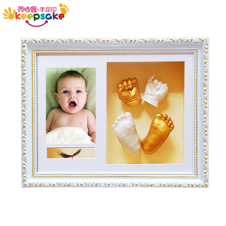 Happy Hall souvenirs of hand printing ink the baby hand and footprints of newborn infants + lanugo photo frame Kit