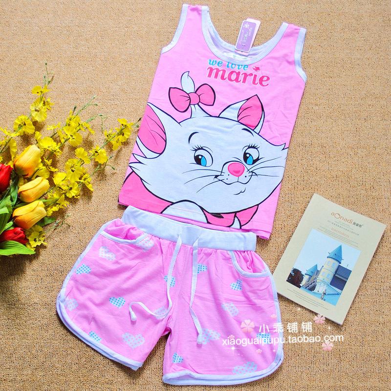 Пижама Летом мультфильм девочек рукавов хлопок пижамы милый кот принцесса Мария жилет одежду #2261 Тканое полотно с подкладкой из хлопка Персонажи мультфильмов Манжеты Для отдыха дома Жен.