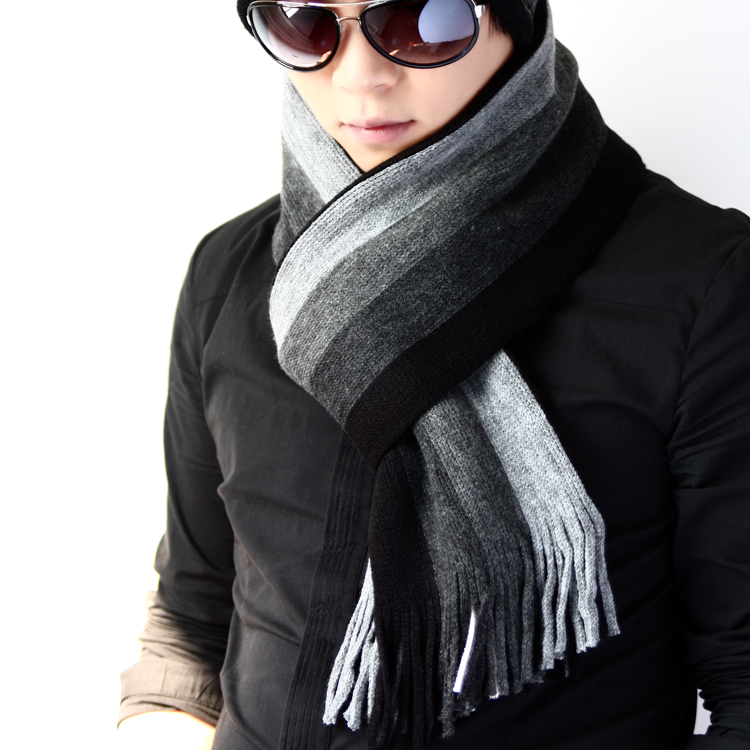 Stripe thickening  long men's wool  scarves