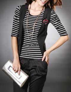 2014秋装女装条纹中袖T恤打底衫女款 条纹 纯棉