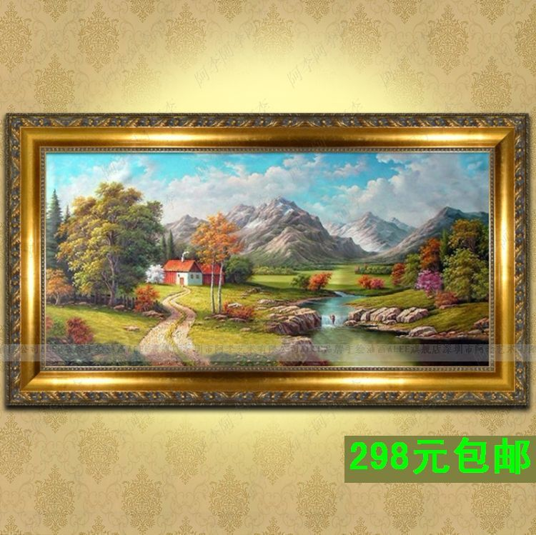 手绘欧式山水风景油画有框画现代简约墙壁挂画客厅装饰画家有财源图片