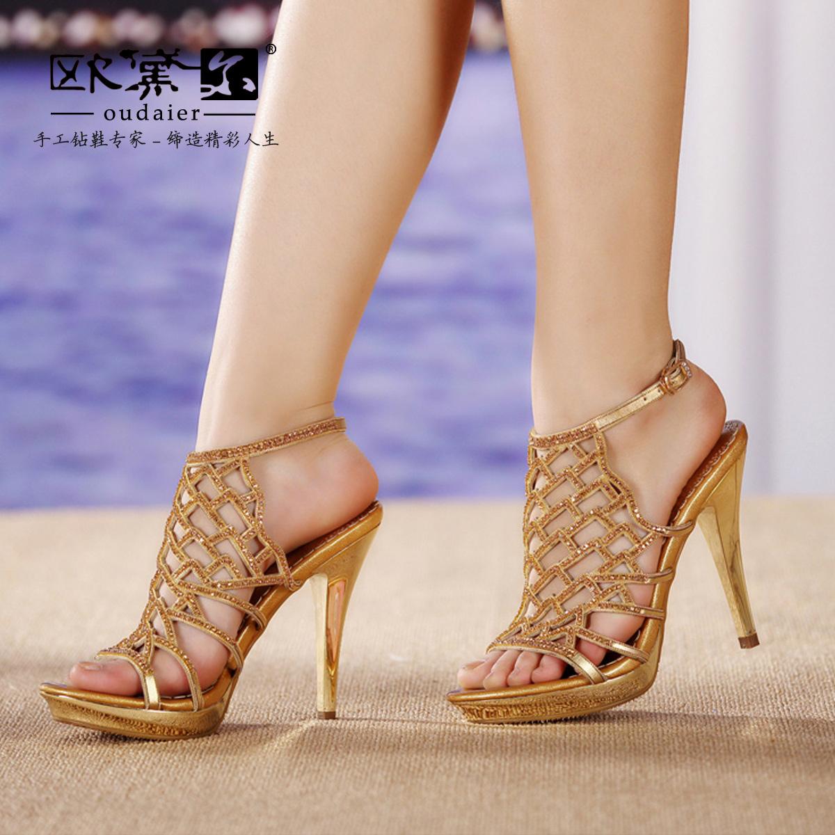 欧黛尔欧洲站真皮女鞋超级无敌性感奢华闪耀高跟宴会罗马水钻凉鞋