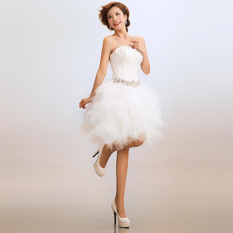 2013最新款时尚明星同款短款新娘结婚婚纱礼服演出主持服宴会装