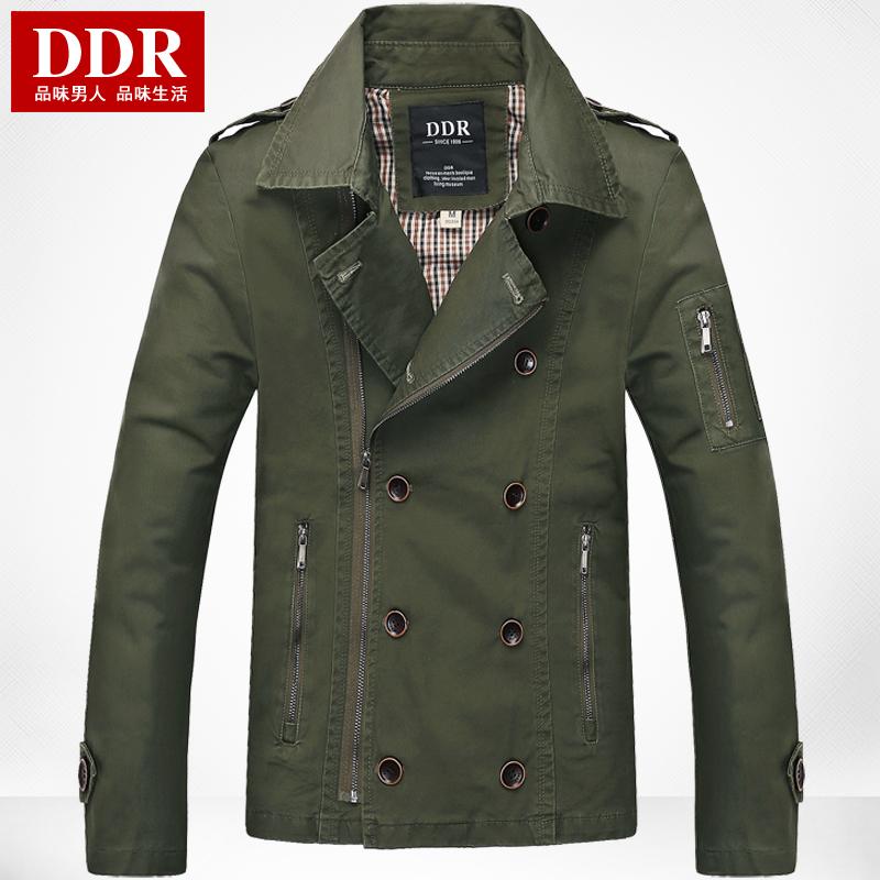 DDR 2014春季新款薄夹克 男 纯棉透气 水洗男外套 双排扣夹克男装