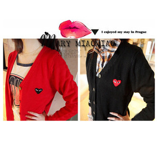 Thin spring-summer Korean v-neck knit sweater play fit Cardigan CDG lovers sweater coat for men and women plus size