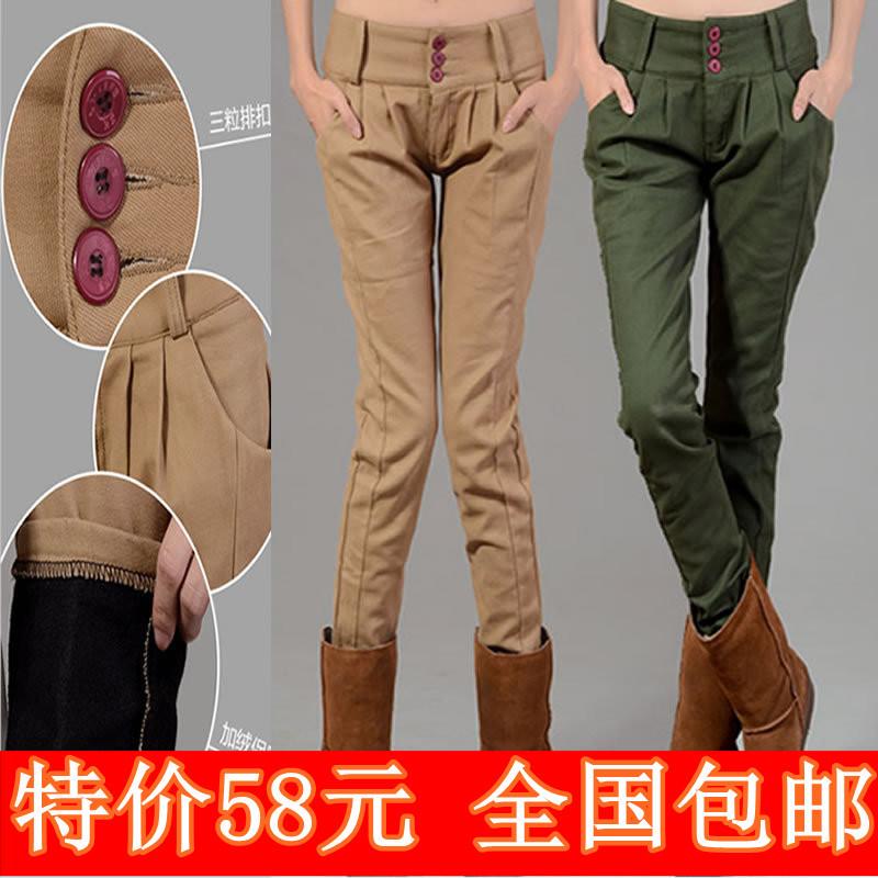 Женские брюки 2012 новый корейской версии осенью и зимой плюс плюш теплый гарем брюки дамы мягкие ноги карандаш штаны тонкий похудения брюки Длинные брюки Галифе Повседневный Утеплённая модель С регулируемой талией