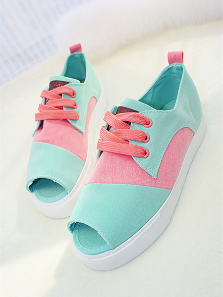 Fish head mixed colors 2014 new Korean tidal shoes lace canvas shoes fashion women shoes to help low Trifle