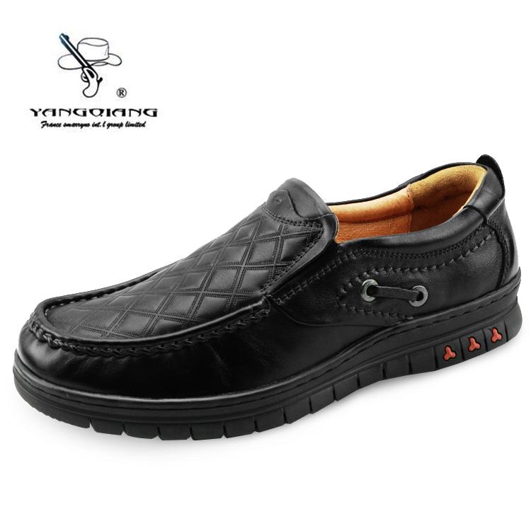 洋枪 男鞋 真皮牛皮平跟套脚 日常休闲耐磨皮鞋 春季新品板鞋