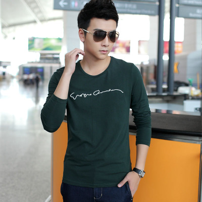 Korean men bottoming shirt autumn and winter 2014 men's cotton shirt Semir youth Qiuyi sleeved t-shirt men