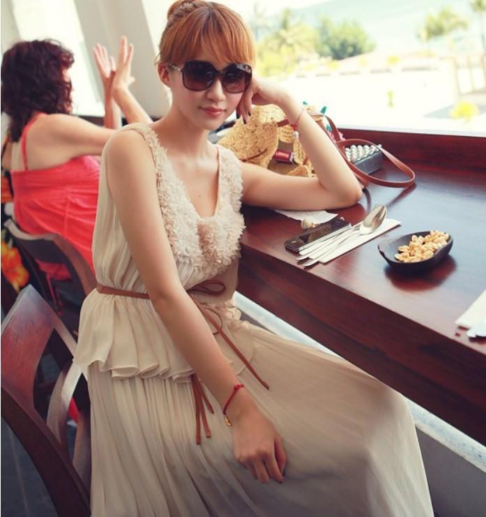 夏季曲美女神风雪纺腰带波西米亚优雅气质长裙