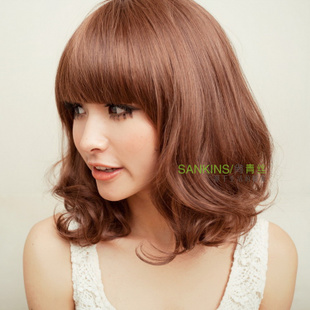 Fluffy ladies wig short black hair flower head volume temperament girls long PEAR volume Qi Liuhai wig