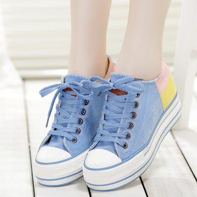 Spring 2014 increased within the new heavy-bottomed canvas shoes female Korean spell color casual shoes singles shoes muffin student