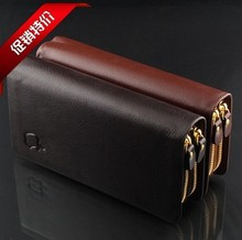 2014 new men's leather upscale double hand bag brand double wallet screens large capacity more hand caught