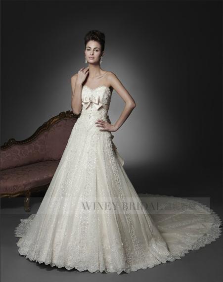 Свадебное платье WINEY BRIDAL 2013 2012 Кружево Длинный шлейф Принцесса