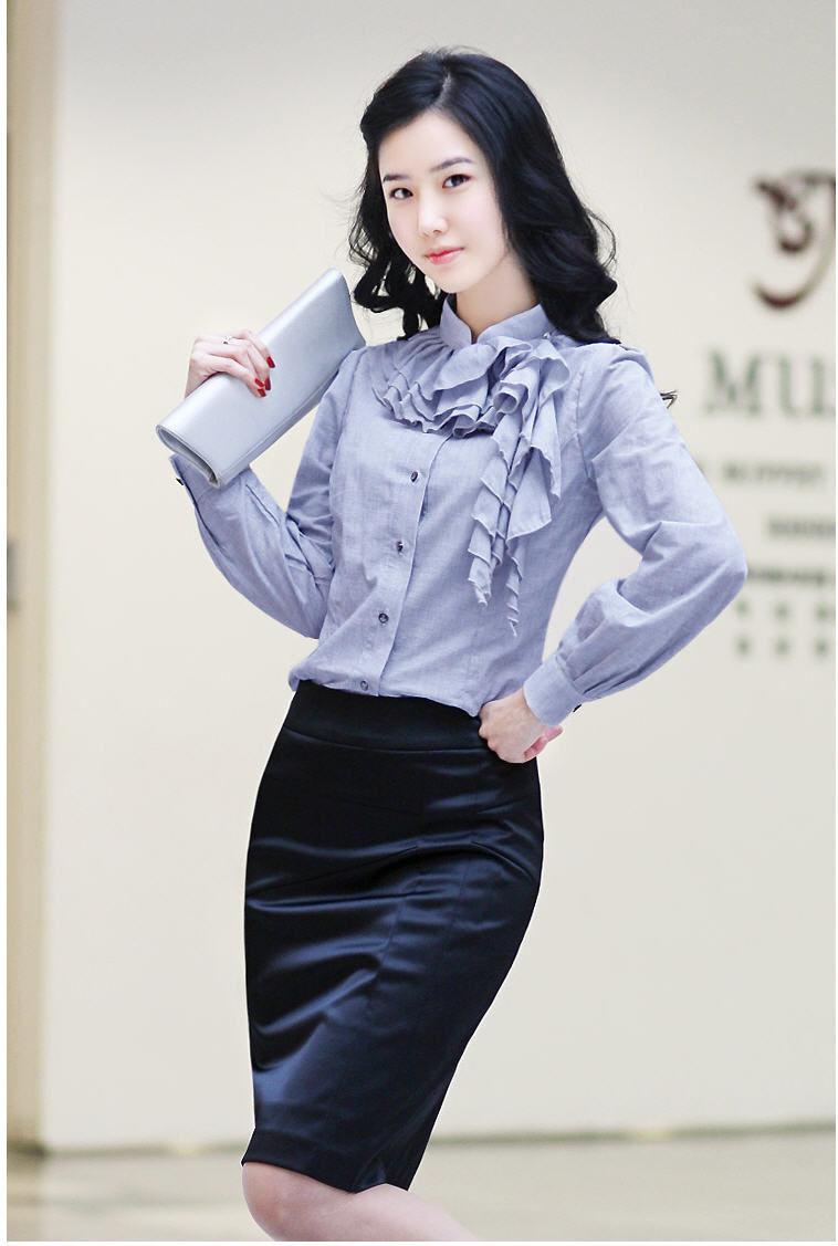 женская рубашка SZ 2012 SZ1365 Casual Длинный рукав Однотонный цвет Воротник-стойка