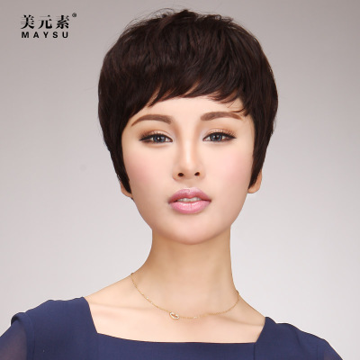 Real hair wig short hair short hair fluffy bangs oblique real hair lady wig free shipping