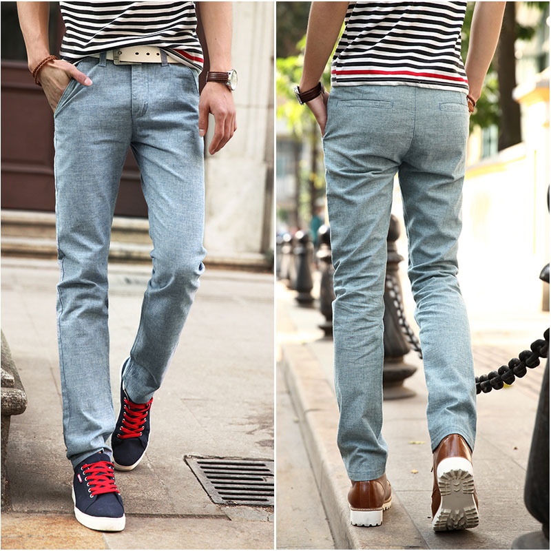 Summer style casual pants men straight linen trousers men's trousers men's cotton and linen trousers leisure trousers Taobao Agent