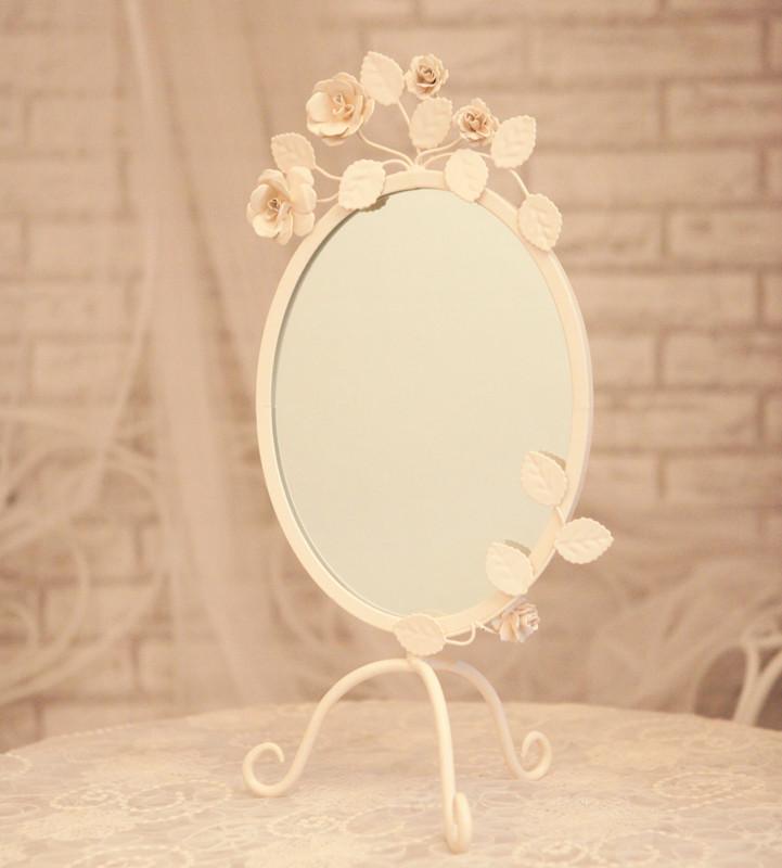 Зеркало настольное Кованого железа белая роза высотой овальные зеркала Туалетная зеркало 700b Деревенский стиль Круглой формы