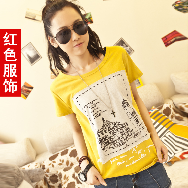 3件包邮 2012新款春夏装 女装 韩版印花宽松短袖t恤 女 打底衫