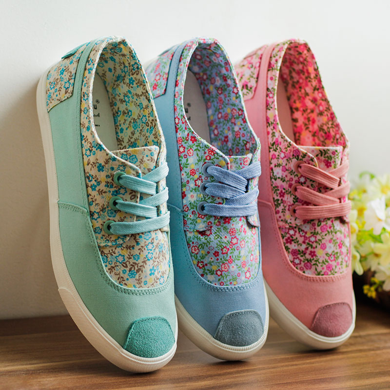 [Special cat] sweet floral canvas shoes women shoes Korean version of the influx of small fresh spell color female student flat shoes