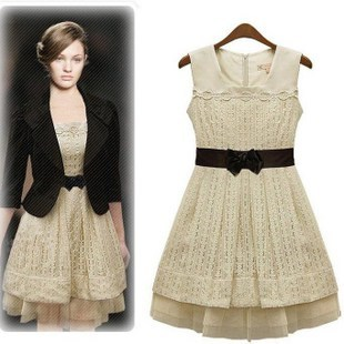 2012 new Euro-American women's temperament in  summer skinny lace dress women's Sleeveless vest dress