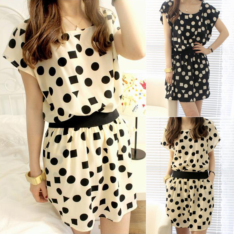 2014 summer dress new girls slim short skirts, polka dot, fresh wave of dress