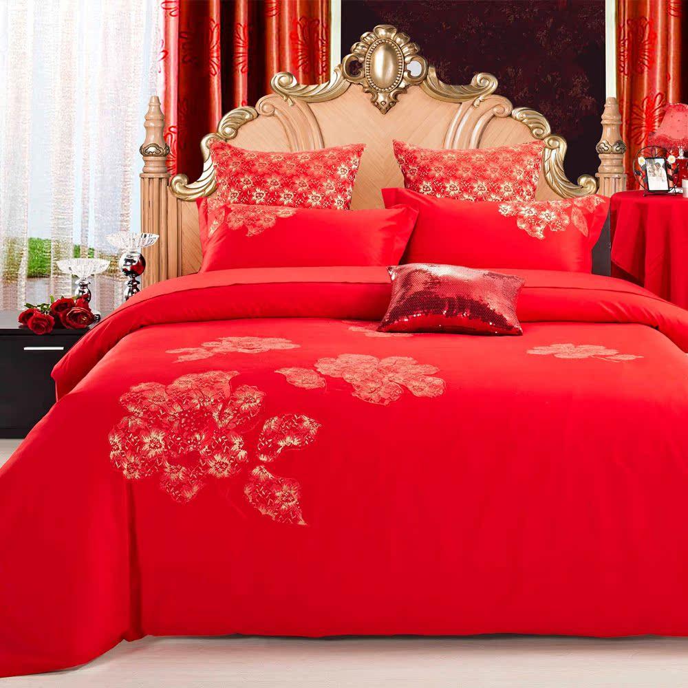堂皇家纺 全棉斜纹绣花 婚庆床品六件套 红色喜庆套件 漫舞