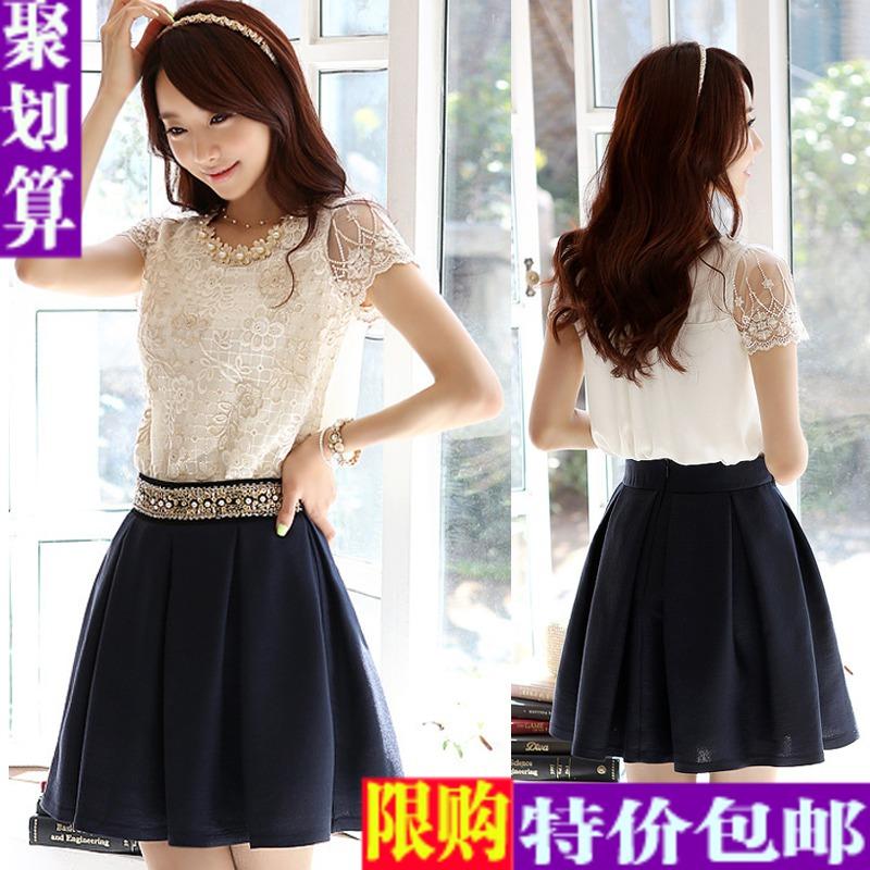 Блузка Европы 2014 весной новой корейской версии тонкий t бисером шифона верхней женщин короткий рукав кружевной блузке женщин